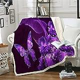 Purple Blanket Throw Purple Butterflies Fleece Blanket Black Purple Floral Flannel Blanket Sofa Couch TV Bed Blanket Cozy Decor Blanket for Kids Teens Adults All Season 50'x 60'