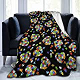 UNSUWU Colorful Autism Awareness Puzzle Pieces Heart Fleece Throw Blanket 50' x 40' Super Soft Cozy Plush Microfiber Flannel Reversible TV Blanket, Home Decor Throws for Couch Sofa Bed Travel