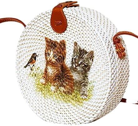 Cat and Flower Decoupage Bali Rattan Bag