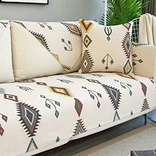 AIKES Moderne Schlichtheit Ecksofa Sofa überzug Für Wohnzimmer,Sofahusse Leinen Couchbezug,Kein Slip Waschbarer Couch-abdeckungen Für Hunde-Beige 65 * 150cm 1pcs