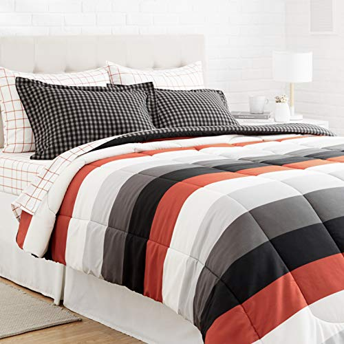 Amazon Basics 7-Piece Light-Weight Microfiber Bed-In-A-Bag Comforter Bedding Set - Full or Queen, Red Simple Stripe
