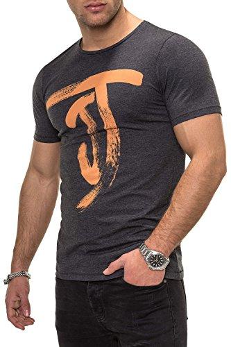 Jack & Jones Men's T-Shirt Short Sleeved Top Logo Print Casual Streetwear (X-Large, Dark Grey Melange)