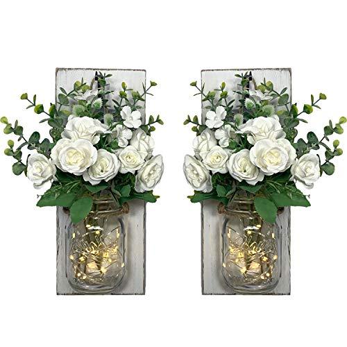 Cadena de luces LED de 2 m en jarrón de flores, para colgar en la pared, decoración de flores, iluminación de madera, decoración (2 metros, cadena de luces en flores), decoración de pared, salón