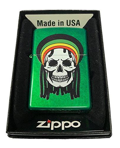 Zippo Custom Lighter - Rastafari Rasta Dead Skull w/ Dreads - Meadow Green