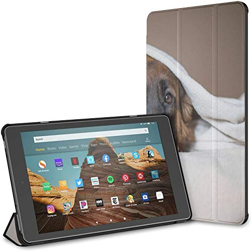 Case for Cute German Shepherd in A Blanket On Bed Picture I Fire Hd 10 Tablet (9th/7th Generation, 2019/2017 Release) KindleFireTablet10CasesandCovers WaterproofCaseforKindle Auto Wake/Sleep
