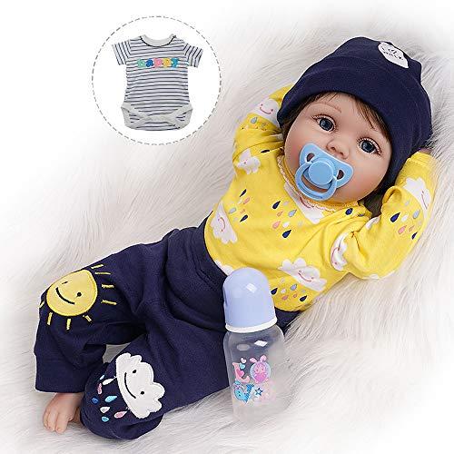 Reborn Baby Doll Junge Lebensechtes Kleinkind Silicone Gestreiftes Hemd 55 cm