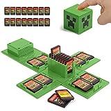 iQiin Funda de Juego, Compatible para Nintendo Switch Compatible con hasta 16 Juegos de Nintendo Switch Organizador de Tarjeta de Juego Contenedor de Viaje (Minecraft Verde)