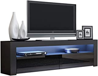 TV Console MILANO Classic BLACK - TV stand up to 70-inch flat TV screens – LED lighting and High Gloss finish front doors – Mesa TV Milano para televisores hasta 70 pulgadas (Black & Black)