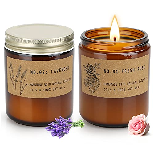 Rose and Lavender Candles for Home Scented, Aromatherapy Candle 2 pcs, Soy Wax Candle Set, Women Gift with Strongly Fragrance Jar Candles