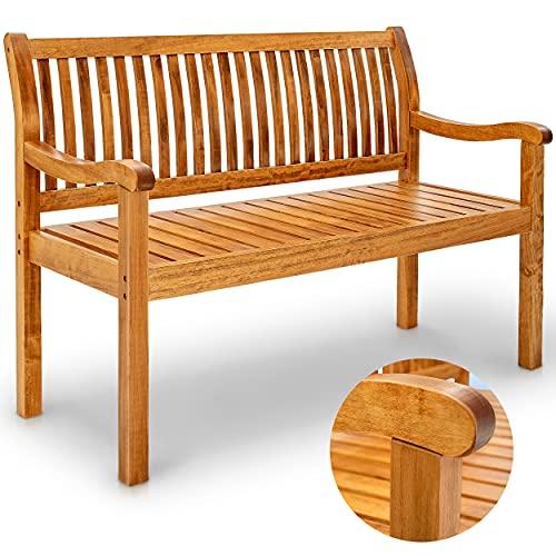 tillvex Gartenbank Holz wetterfest | Parkbank Massivholz | Sitzbank 320 kg belastbar | Holzbank für Balkon, Terrasse & Garten