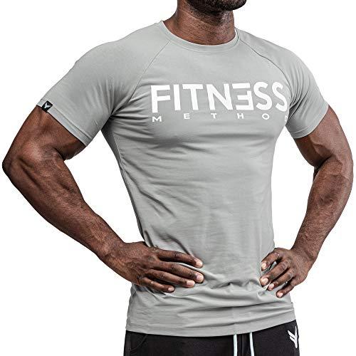 Fitness Method, Sport T-Shirt Herren, Slim-Fit Shirt bequem & hochwertig Männer, Rundhals & Tailliert, Training & Freizeit, Gym & Casual Workout Mann, Baumwolle, Elastan (Grau-Weiß, L)
