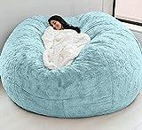 WHHK Puff gigante extraíble lavable para sofá cama, sin relleno, muebles de sala de estar, sofá perezoso sin relleno (color azul, tamaño: 150 x 65 cm)