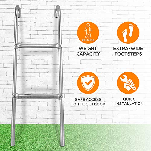 Outdoor Trampoline Access Safety Ladder - 2 Step Weather Resistant Galvanized Steel Trampoline Climbing Ladder - for SereneLife Outdoor Trampoline Models SLTRA10BL and SLTRA10PNK - SereneLife SLTRALDR