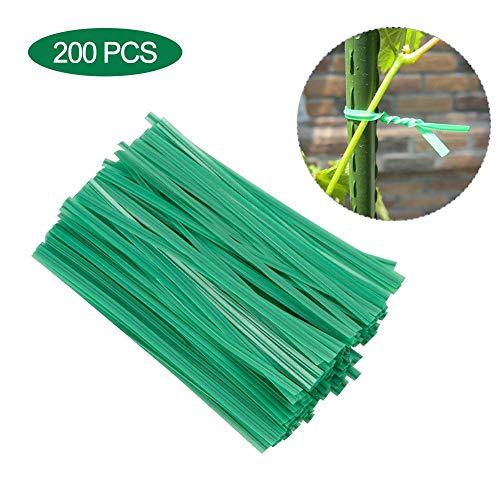 Attaches pour plantes Attache rapide en plastique vert Attaches pour plantes stables Attaches de jardin souples avec fil métallique à l'intérieur pour le support des plantes 200 pièces 10 cm