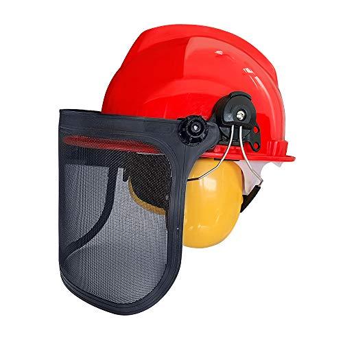 Aufun Schutzhelm mit Visier und Gehörschutz Forstschutzhelm mit Maschenvisier Kopfschutz Augenschutz Schutzhelmkombination Integra für Kettensäge Rasenmäher, SNR: 27dB/NRR: 24dB