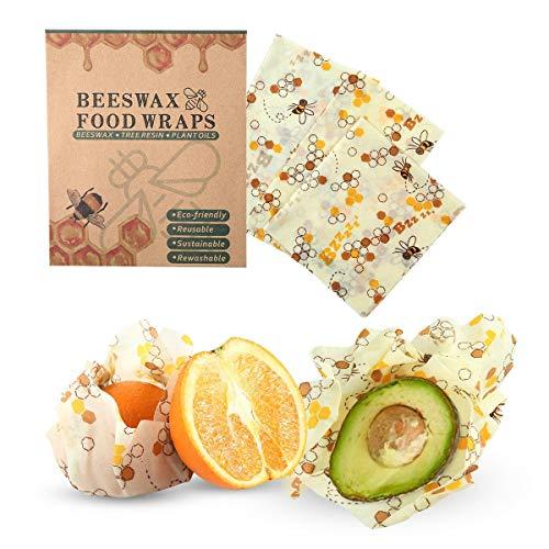 Wiederverwendbare Beeswax Wrap, 3 Pack Bio lebensmittel bienenwachs tuch Frischhaltefolie - Öko Wachstücher bienenwachstücher für Brot Sandwich Käse Gemüse
