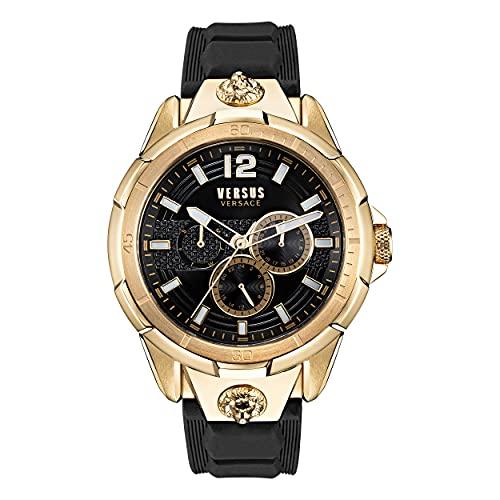 Versus Versace Runyon - Reloj de pulsera para hombre (correa de piel, 44 mm), color dorado y negro