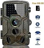 BestoU Cámara de Caza 16MP 1080P HD Trail Cámara con Visión Nocturna Impermeable IP56 con PIR Infrarrojo Sensor de Movimiento 46 Pcs IR Leds de 2.4' LCD con 32G Tarjeta Micro SD … (Cámara de Caza)