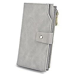 Geldbörse Damen UTO RFID Blockierung PU Leder Kupplung 21 Kartensteckplätze Halter Organizer mit Armband Große Kapazität innere Tasche passt 5,5 '' Handy grau