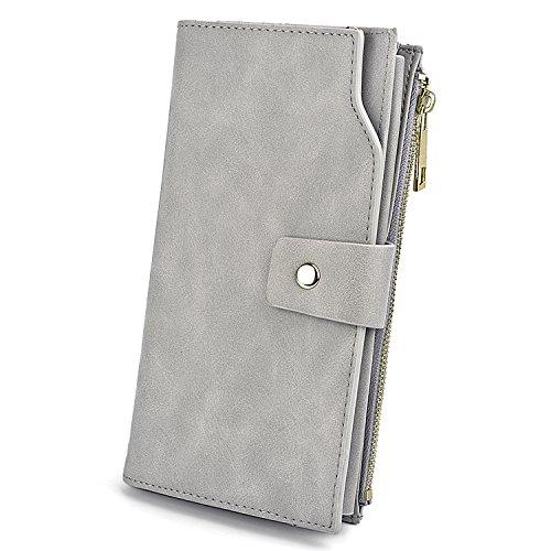 Geldbörse Damen UTO RFID Blockierung PU Leder Kupplung 21 Kartensteckplätze Halter Organizer mit Armband Große Kapazität innere Tasche passt 5,5  Handy grau