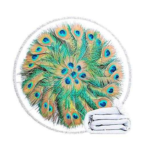 VSander Round Blanket Microfiber Large Quick Dry, Mandala Feather Tassels Printed Super Soft Absorbent Water Lightweight Sunscreen Sports Travel 150cm/59in
