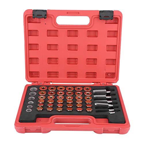 Qiilu Kit de reparación de roscas para cárter de Aceite Tapón de drenaje de aceite 114 Piezas Juego de Herramientas para desagüe de Caja de Cambios de sumidero M13 M15 M17 M20 M22