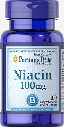 Puritan's Pride Niacin Paquete de 1 x 100 Tabletas Vitamina B3 PP Vegetariano