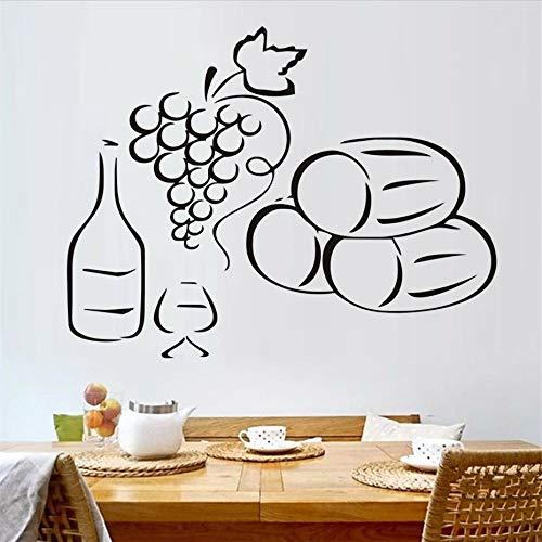JXMK Home Decor Afneembare druiven Een fles wijn muursticker keuken sticker accessoires eenvoudig design patroon decoratie huis decoratie | Muursticker 75cm x 58cm