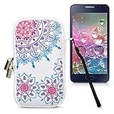 kwmobile Custodia in Neoprene con Zip per Smartphone M - 5,5' - Astuccio portacellulare a Sacchetto con Cerniera - Borsa Verticale - Art Mandala Fucsia/Blu/Bianco