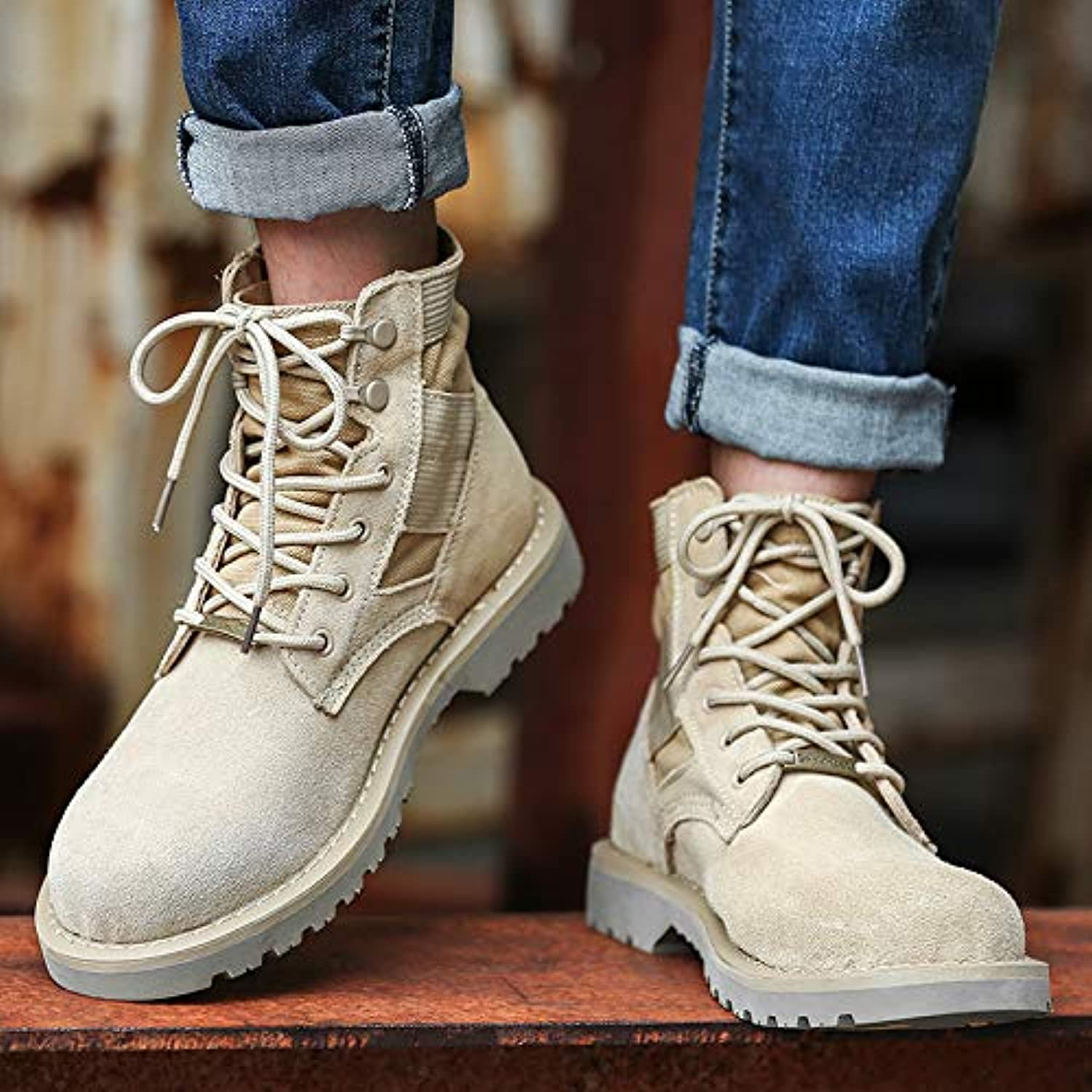 LOVDRAM Boots Men's Army Boots Men'S Cotton Boots Scrub In The Tooling Boots High To Help Martin Boots Pu Desert Boots Winter
