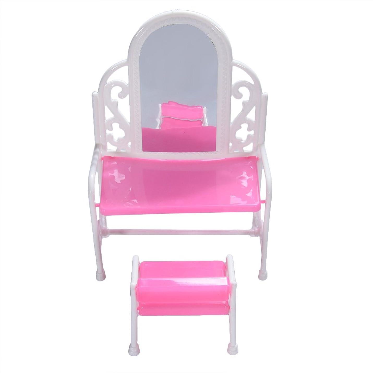 トロリー無関心船乗りBEESCLOVER ファッションドレッシングテーブルと椅子は、バービー人形のベッドルーム家具のセット