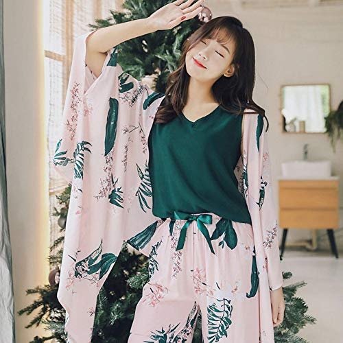 Handaxian 4 Stück Damen Schlafanzug Komfortabler Satin Eleganter Druck Schlafanzug Mantel + Weste + Hose + Shorts Home Service Abgebildet XL