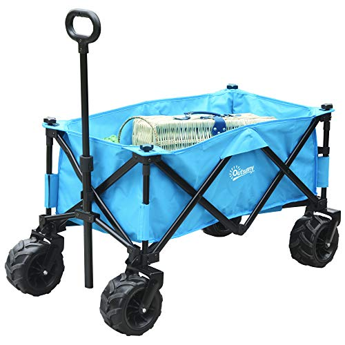 Outsunny Carrello Pieghevole per Giardinaggio Campeggio Telaio in Acciaio e Tessuto Oxford Blu 94 x 55 x 93.5cm