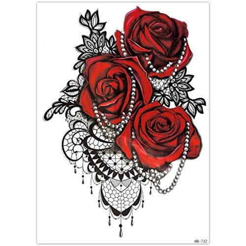EROSPA® Tattoo-Bogen temporär - Aufkleber Rosenblüten / Perlenkette - 15 x 21 cm