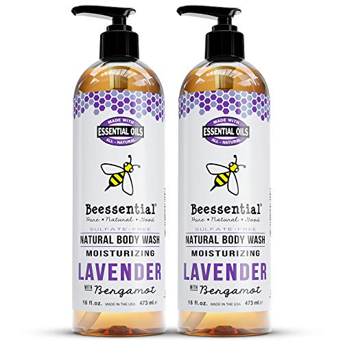 Beessential Natural Body Wash, Lavender, 2 Pack 16 oz   Sulfate-Free Bath and Shower Gel with Essential Oils for Men & Women