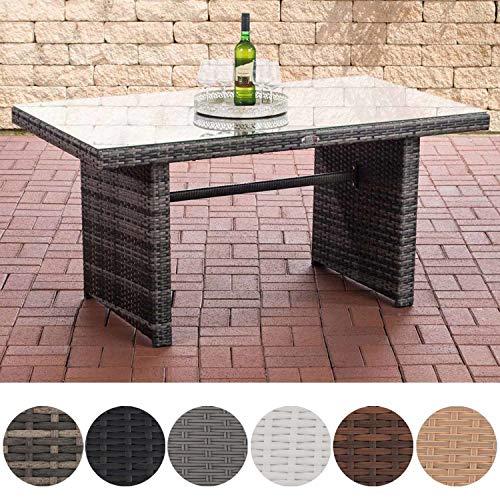 CLP Polyrattan-Gartentisch FISOLO mit Einer Tischplatte aus Glas I Wetterbeständiger Tisch aus Polyrattan Grau Meliert