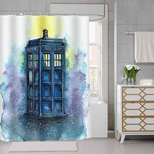 SDDSER Doctor Time Machine Duschvorhang Farbe Polizei Kiosks Dekor Badezimmer Vorhang für Kinder, wasserdichter...