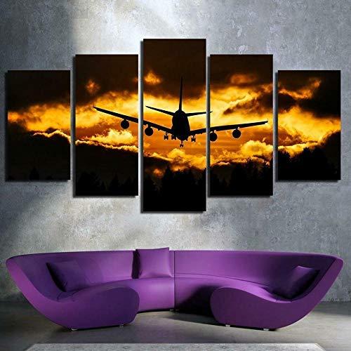 QWASD Puesta del Sol del Aeroplano Impresión De Lienzo 5 Paneles Cuadro En Lienzo Moderno Impresión De 5 Piezas Impresión Artística Imagen Gráfica Decoracion De Pared - Enmarcado 150 * 80Cm