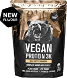 Vegan Protein 3K de nu3 – 1Kg sabor Café Helado – Batido de proteína vegetal sin soja – Mezcla en polvo de proteína vegana (73%) – De 4 fuentes: arroz, girasol, guisante & algarrobo – Sin edulcorantes