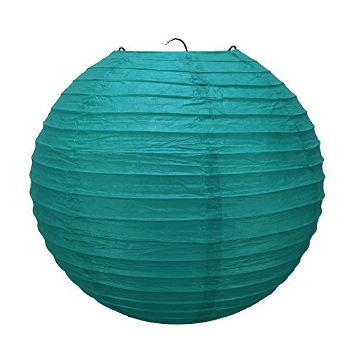 Enimay Chinese Paper Lanterns Round Lamps Wedding Lights Oriental Hanging Bulb Turquoise 8 Inches