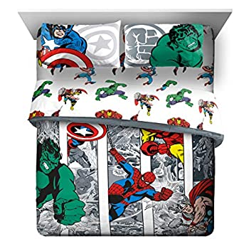 Marvel Avengers Comic Cool 7 Piece Queen Bed Set - Includes Comforter & Sheet Set - Bedding Features Captain America Spiderman Iron Man Hulk & Thor - Super Soft  Official Marvel Product