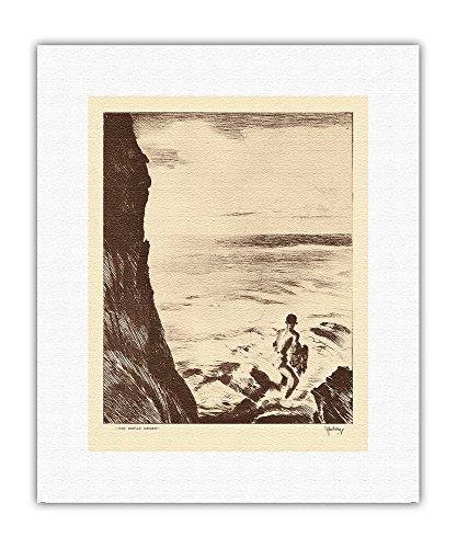 Pacifica Island Art Moi Water Hawaii - Pescador de Red de Tiro - De Grabados y Dibujos de Hawaianas - Grabado a Punta Seca de John Melville Kelly c.1936 - Impresión de Arte en Lienzo 28x36cm