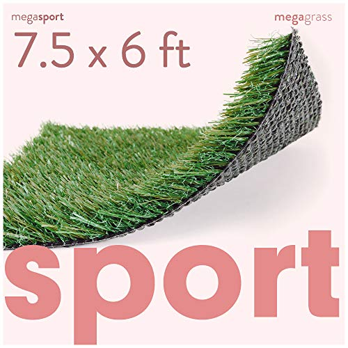 MEGAGRASS 7.5 x 6 Feet Premium Synthetic Turf for Sports - Deluxe Artificial Grass [Indoor and Outdoor Athletic Mat for Agility Training, Fake Grass for Large Football Fields, Pet Dogs Potty Rugs]
