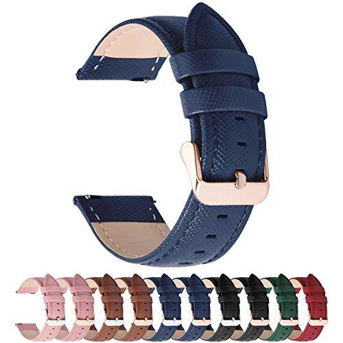 Fullmosa Uhrenarmband 20mm, Cross Leder Ersatzband für Samsung Galaxy Watch 42mm/Huawei Watch 2, Dunkelblau + Roségold Schnalle