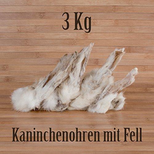 3 Kg ca. 240 Stück Kaninchenohren mit Fell fettarm Barf wie Schweineohren Rinderohren Kausnack Kauartikel