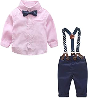 taitaibaby Boys 3Pcs Clothing Sets Cotton Long Sleeve Bowtie Shirts +Vest +Overalls