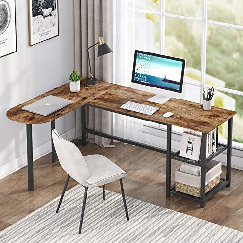 Tribesigns L-förmiger Computertisch, Schreibtisch Bürotisch Eckschreibtisch mit 2 Ablagen, Gaming-PC Studio Table Workstation für das Home Office
