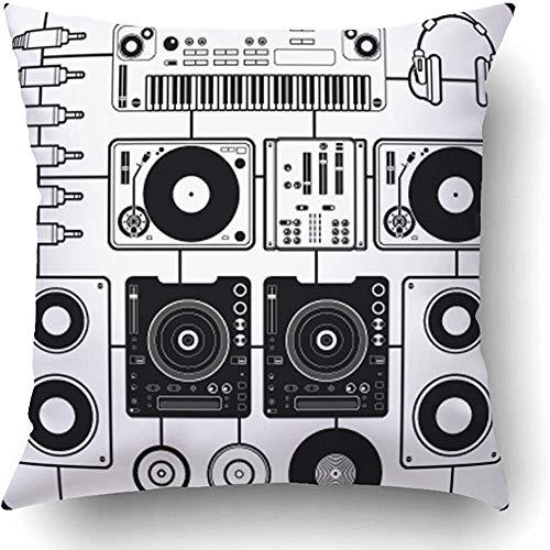 Moily Fayshow Fundas de Cojines Tocadiscos Negro Música de DJ Grabación Blanca Teclado de Vinilo Equipo de Altavoces Reproductor de Sonido Funda de Almohada de poliéster 45 X 45 cm