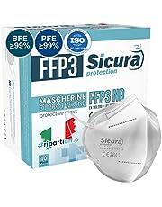 FFP3 mask CE gecertificeerd Gemaakt in Italië. Maskers BFE ≥99%. set van 10 mondkapjes ffp3 UV-C GESANITISEERD en individueel verzegeld masker. mondmasker ISO 13485 medische hulpmiddelen.