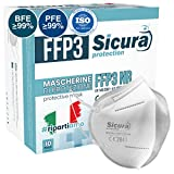 10 Mascherine Protettive FFP3 Certificate CE. Made in Italy. BFE ≥99% e PFE ≥99% Mascherine...